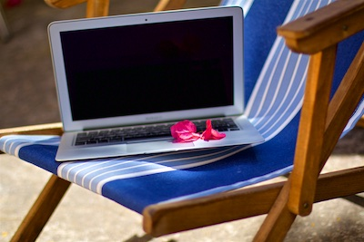 Sunchair and Laptop - Relax and Work Mallorca Rayaworx Get work done in the sun