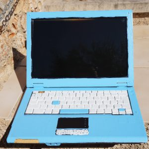 laptop blue white