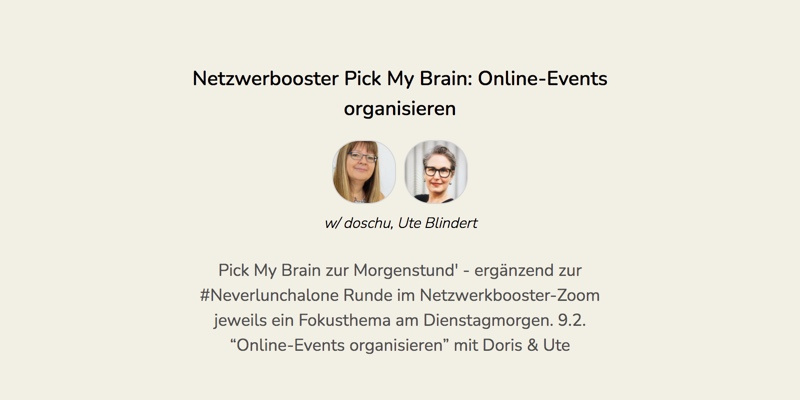 Pick My Brain: Online-Events organisieren