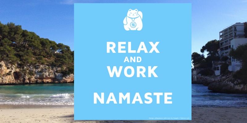 relax and work namaste illustration